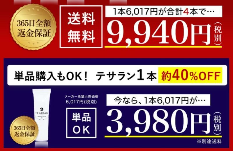 公式サイトのテサランの値段